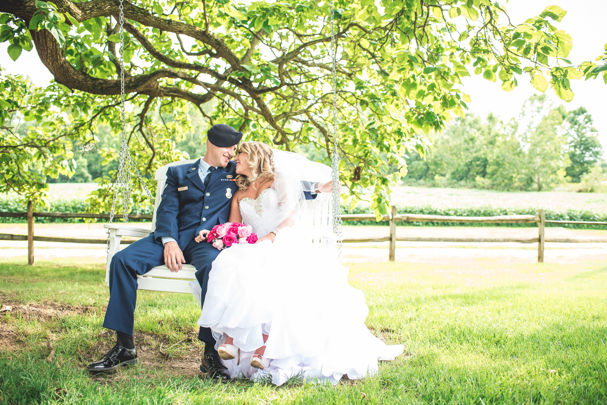 Columbus Ohio Wedding Photographer | Bride and groom in swing