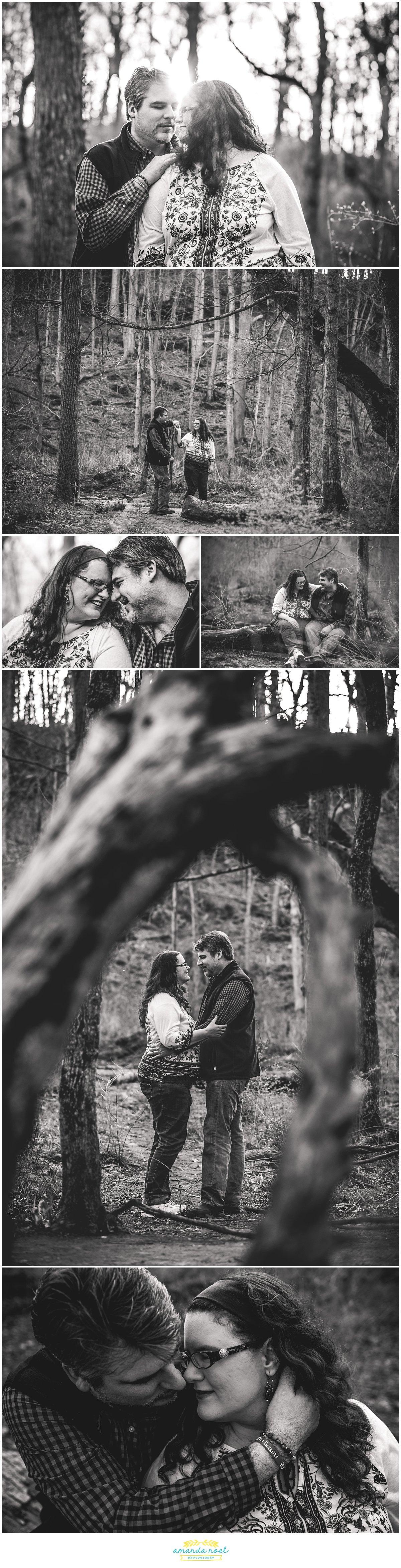 Dayton Wedding photographer | romantic black and white engagement photos in Glen Helen | Amanda Noel Photography