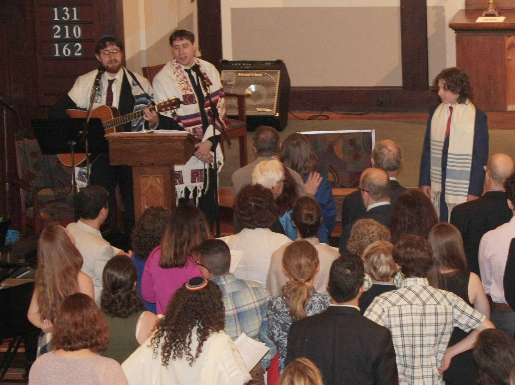 Sam and Nick Leading Bar Mitzvah service, UU Curch, Montclair, NJ