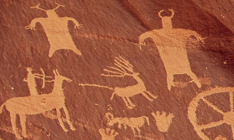 Newspaper Rock: Ancient cave drawings demonstrate early humans affinity for hunting.