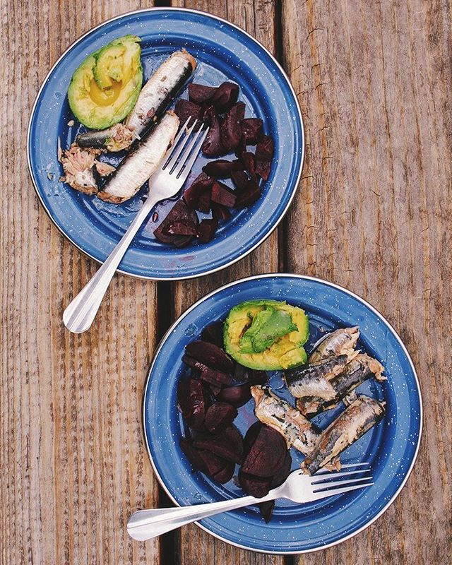 Sardines beets avocados. 🐟 #realfoodism #sardines #beets #avocado #camping #food #onthetable #eeeeeats #whole30 #paleo #realfood #eatrealfood