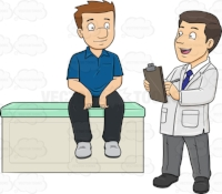 A doctor asking medical questions to his male patient
