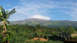 At the height of 13,435 ft, Mt Cameroon is the highest point in Sub-Saharan West Africa and is considered an active volcano. The side of the mountain facing the sea has a mean annual precipitation level of more than 400 inches and is one of the wettest places in the world.