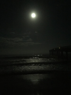 The tide is either high or low, this is a direct result of the moon creating it's gravitational pull on the ocean. The water will be highest when the moon is closest.