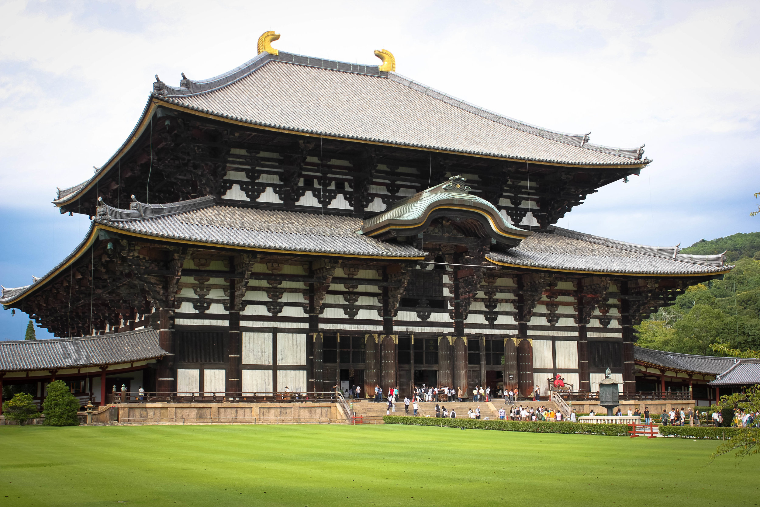 Todai-ji in Nara, housing inside the largest bronze statue of Buddha in the world.