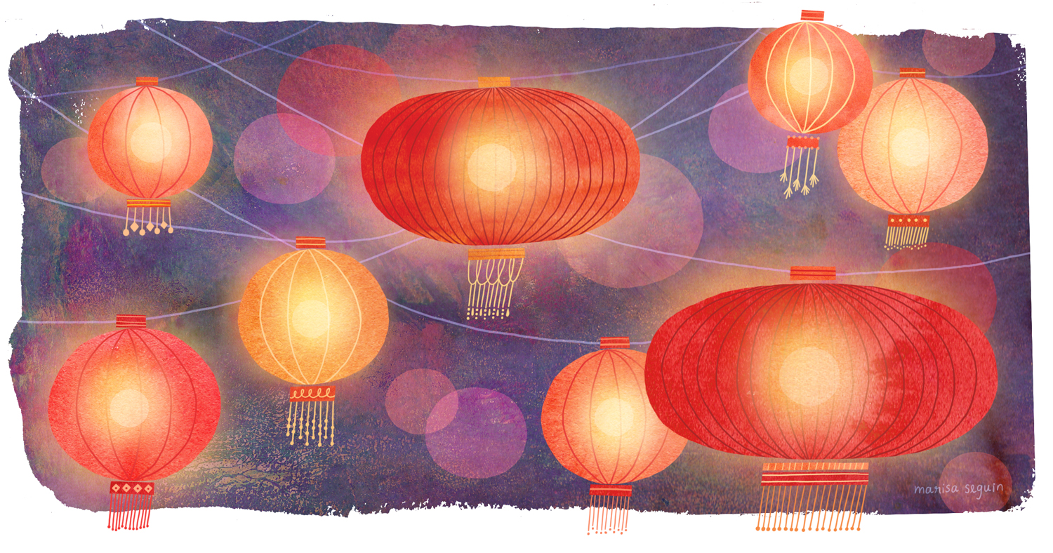 Sister lanterns! My  sister  illustrated me some beautiful glowing lanterns just as mesmerizing as the real things.