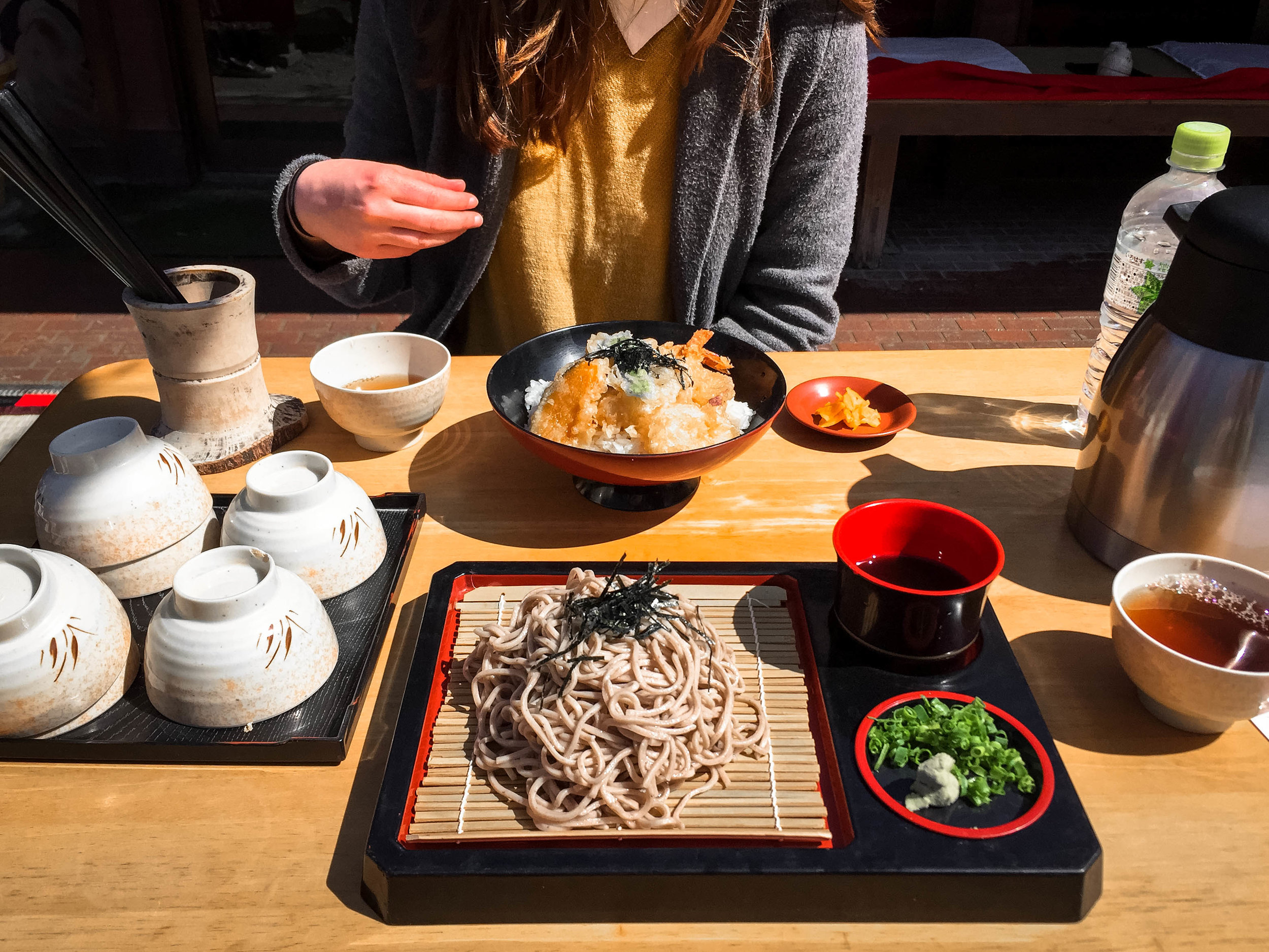 Our lunch of soba (front) and ten-don-- tempura on top of a bed of rice.