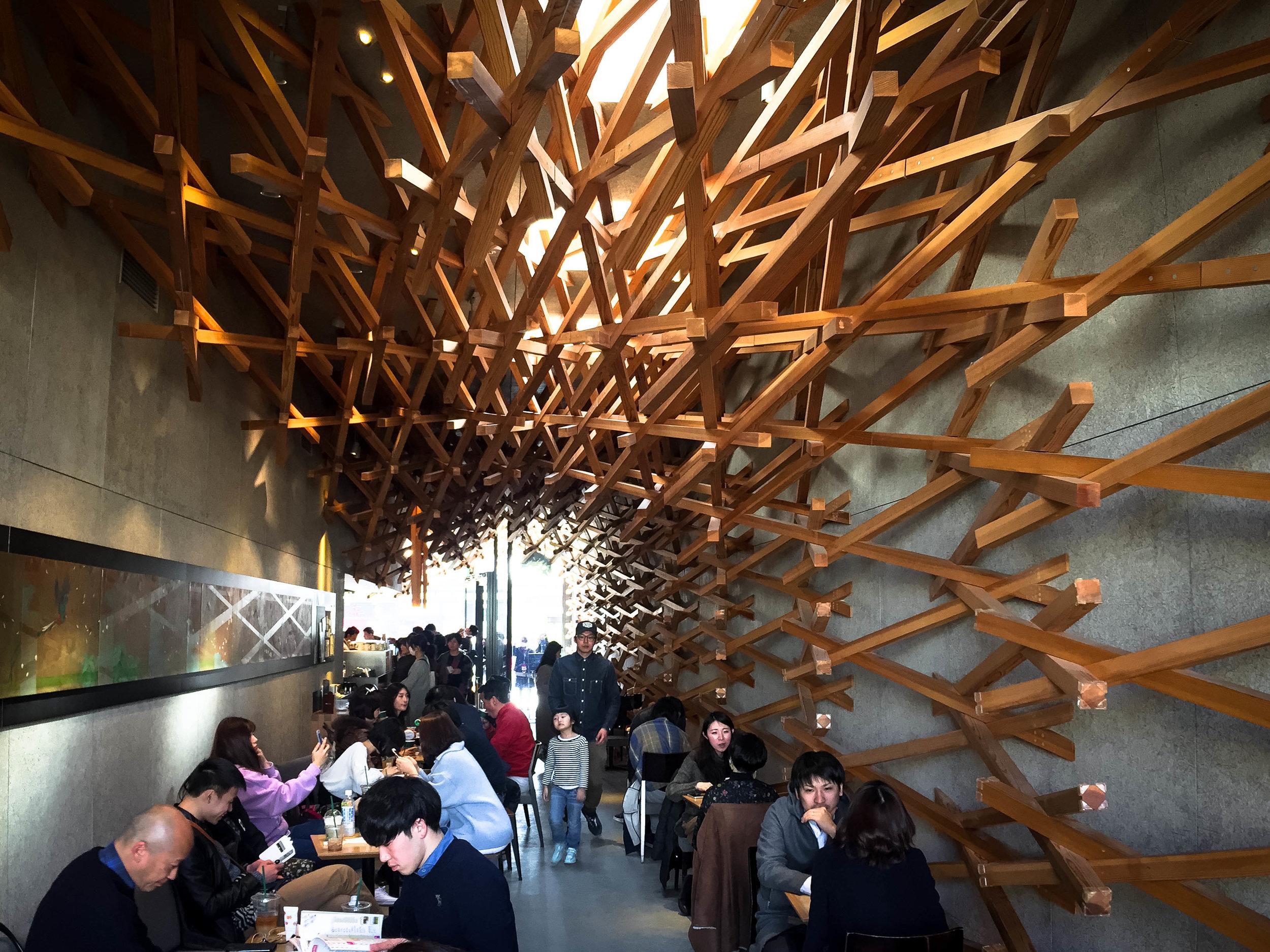 Interior of the Starbucks designed by Kengo Kuma.