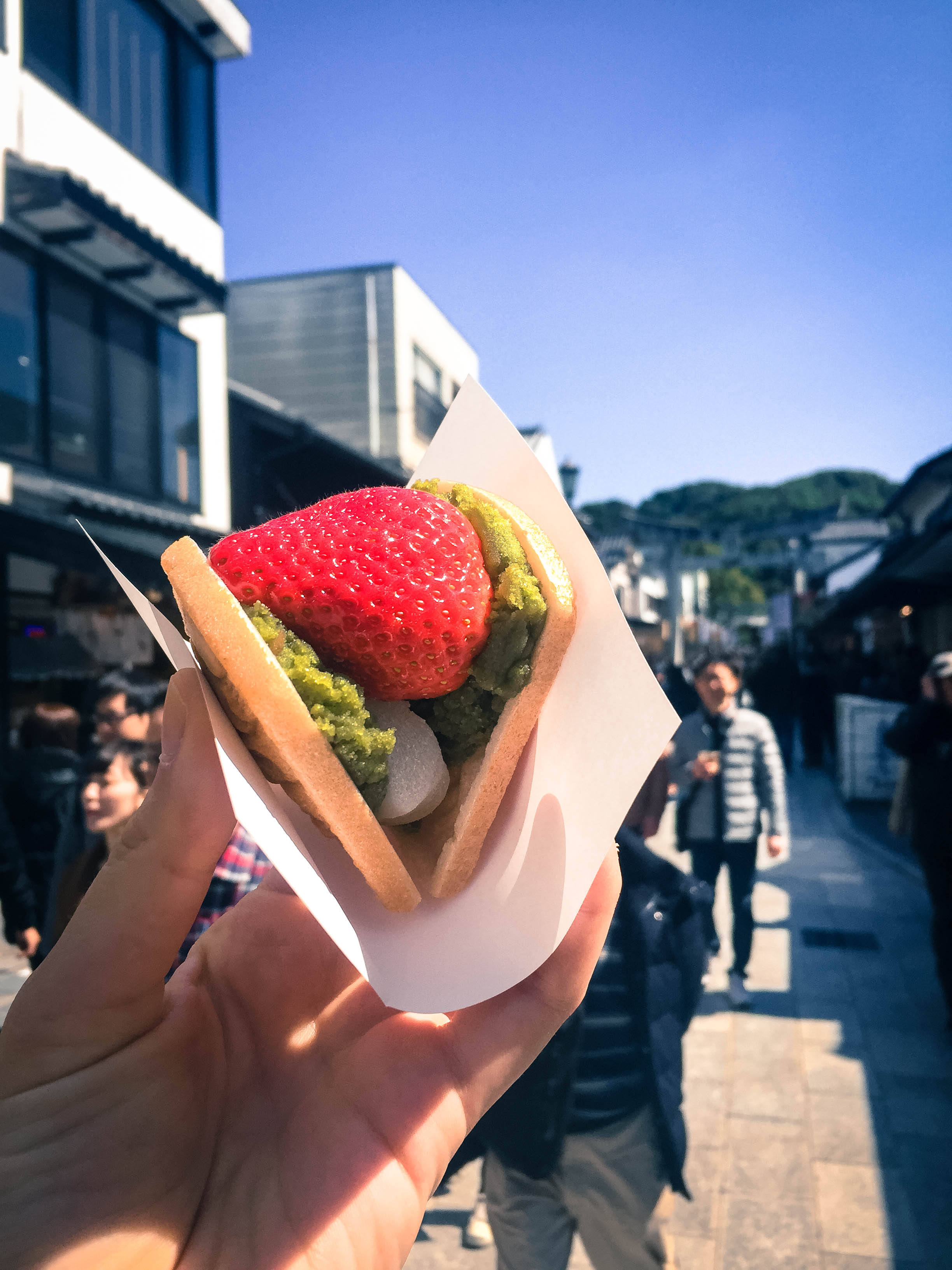 Some form of matcha-strawberry-mochi taco sandwich contraption which was DELICIOUS. It was similar to an ichigo daifuku (strawberry filled mochi).