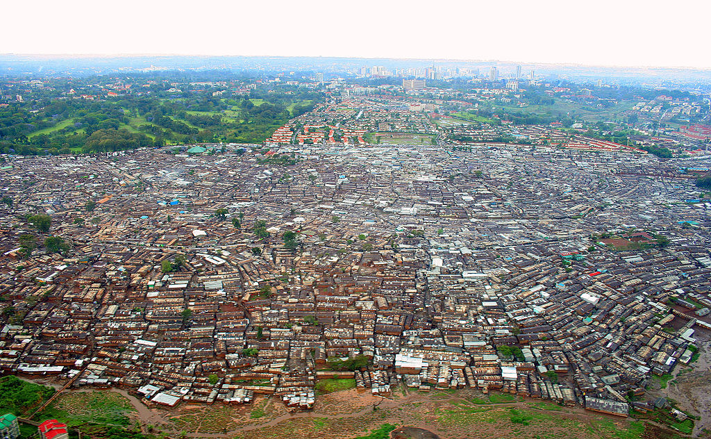 Kibera Slums as viewed from above.  Source:  Wikimedia Commons