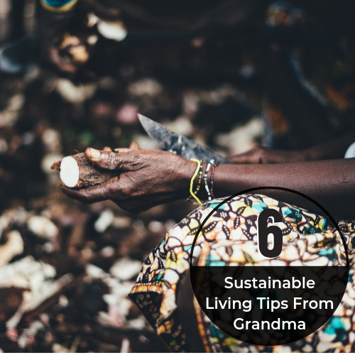 "A black person is shown cutting a root vegetable. They are wearing multi-colored bracelets and an African-patterned skirt. Text reads ""6 Sustainable Living Tips From Grandma"". Photo: Annie Spratt"