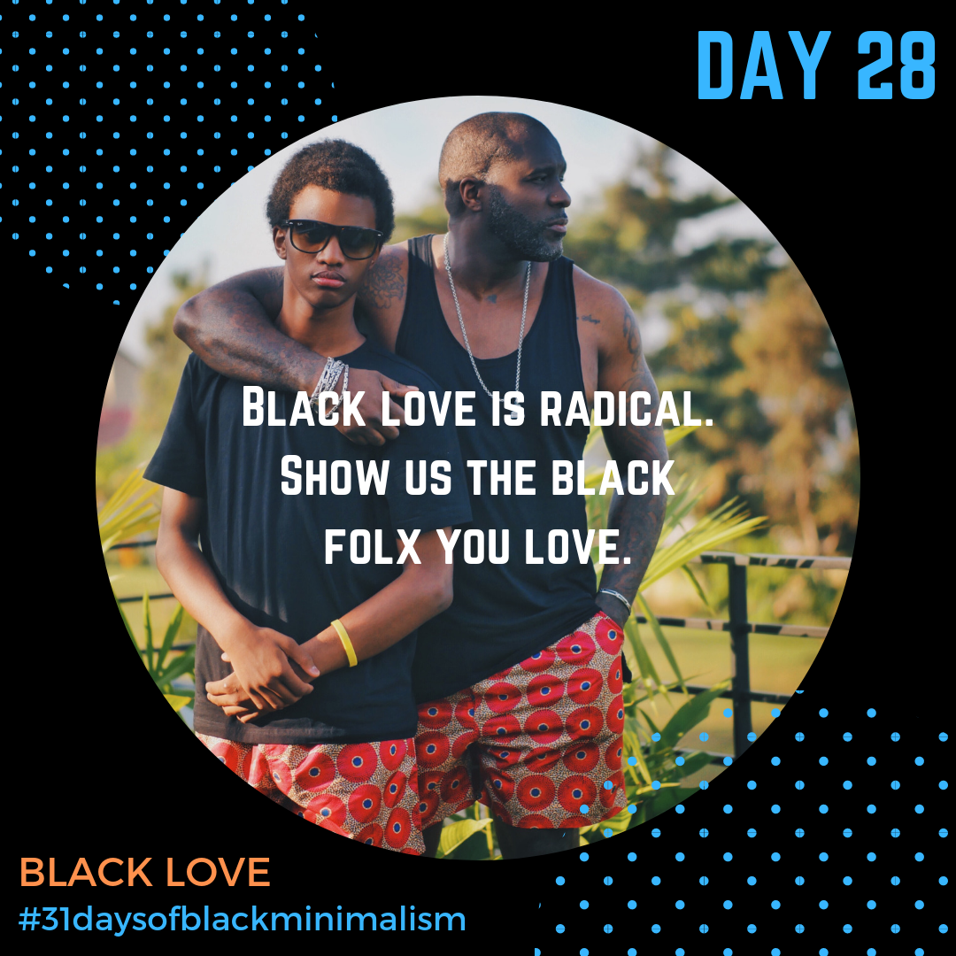 - When we take stock of our #priorities through a #minimalistlife it teaches us how to love differently: how to show up for our folx, besties and baes, how to listen closely, and how we want to be loved. Show us your pics of #blacklove today. What has minimalism taught you about how to love others, or love yourself?***Photo: Kay via @unsplash***#blacklove #blackjoy #radical #loveisrevolutionary #loveyoulove #kisses #thank you #special #legendary #melaninonfleek #blackisbeautiful #blackbeauty #poppin #iseeyou #blacklivesmatter #blackjoymatters #blacklovematters #day28 #31DaysofBlackMinimalism #BlackMinimalists #Minimalismchallenge