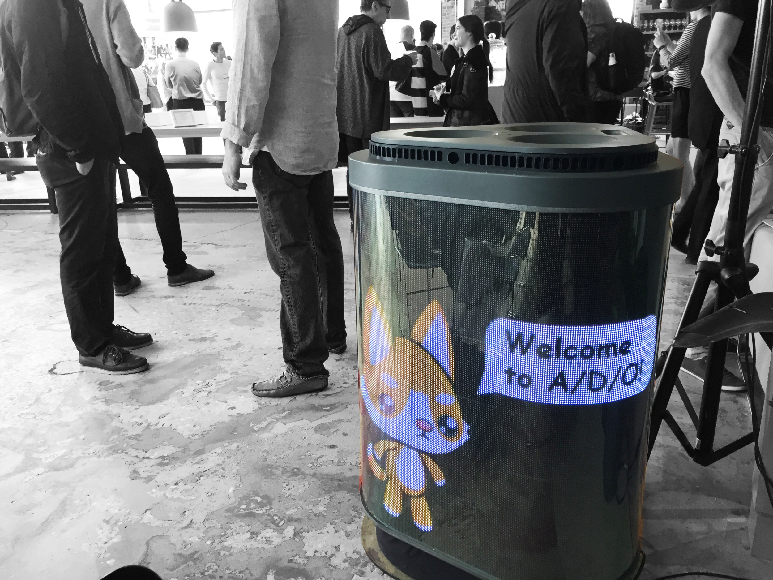TetraBIN, a smart and interactive waste receptacle, was deployed at the Food-X Demo day in A/D/O.