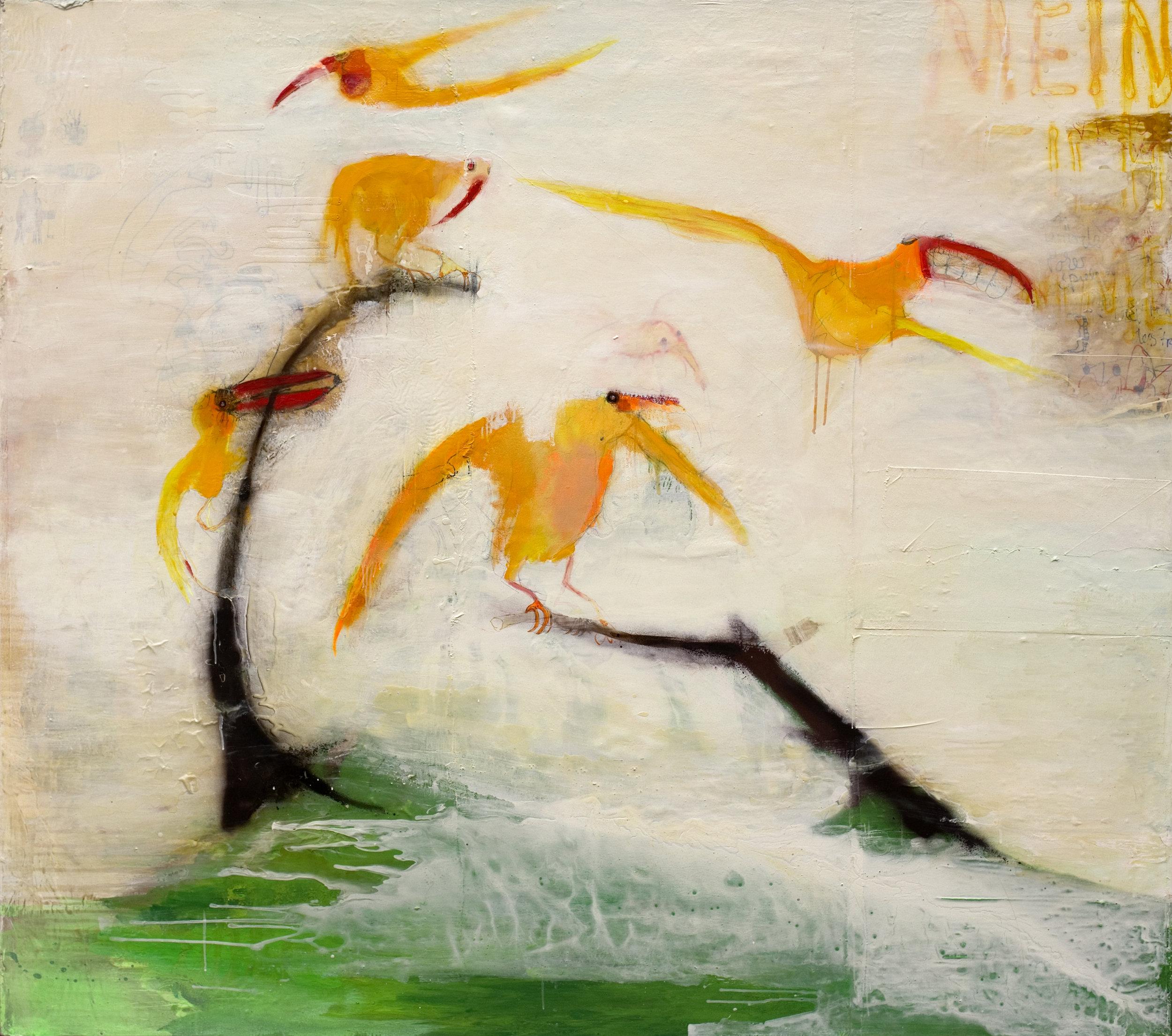 """Birds"" 170 x 190 cm, mixed media on canvas"