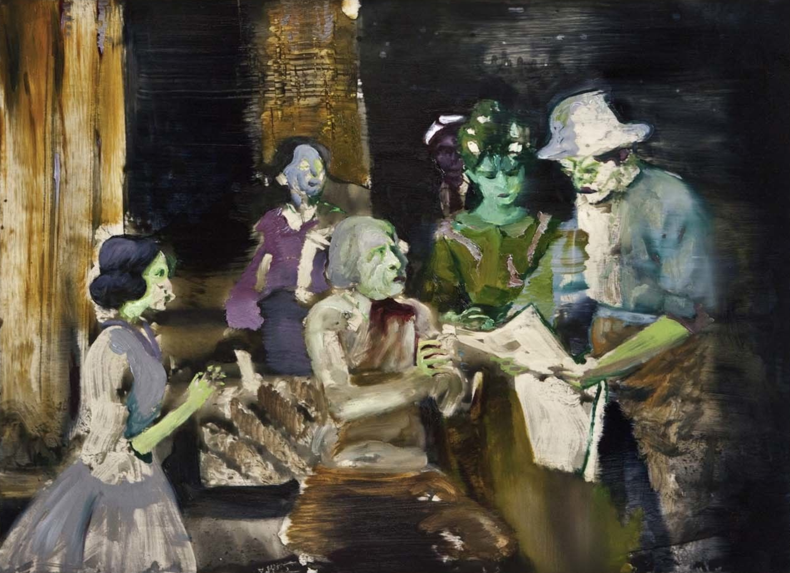 """News Reaches the Family 1""   61 x 91 cm, mixed media on wood panel"