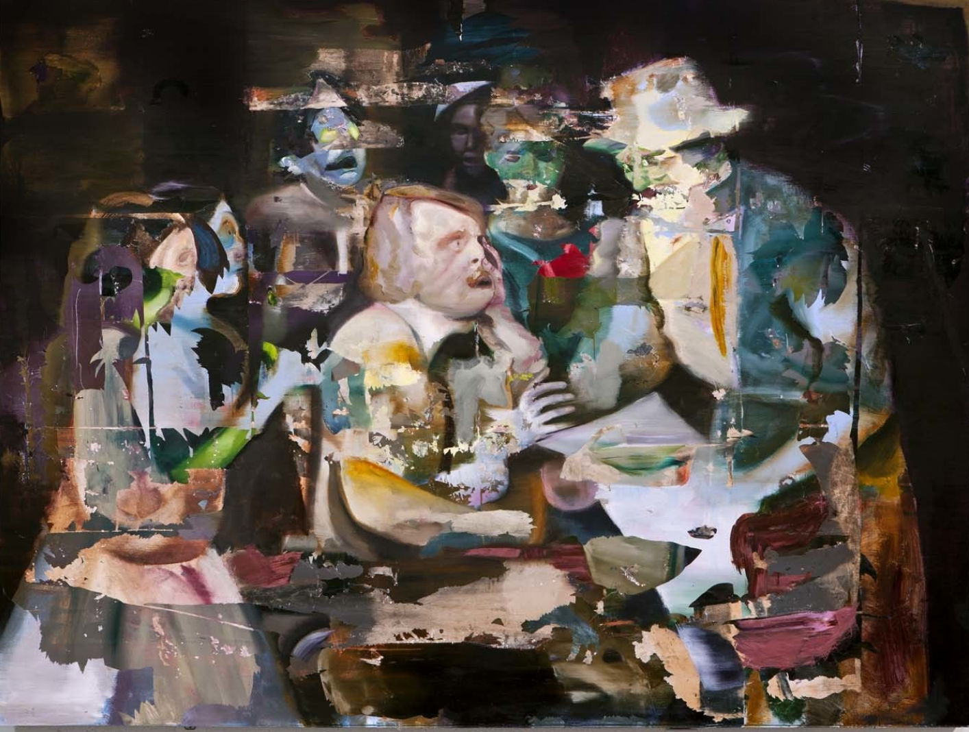 """News Reaches the Family"" 182 x 243 cm, mixed media on canvas"