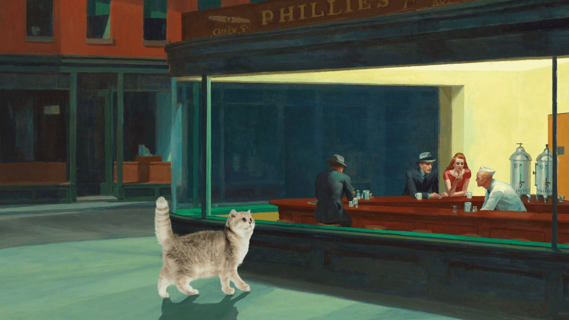 Edward the Hopper - An animation about a cat named Edward hopping around Edward Hopper's paintings.