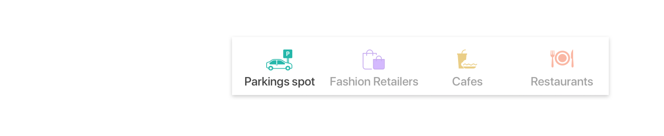 - Tabs Bar: To switch between the categories you are searching for. As extra functions are overshadowing the primary parking function. We strategically decided to prioritize parking, remove extra function and thrive for a minimum viable product.Conclusion: Categories would be either collapsed into one tab, or deprecated.