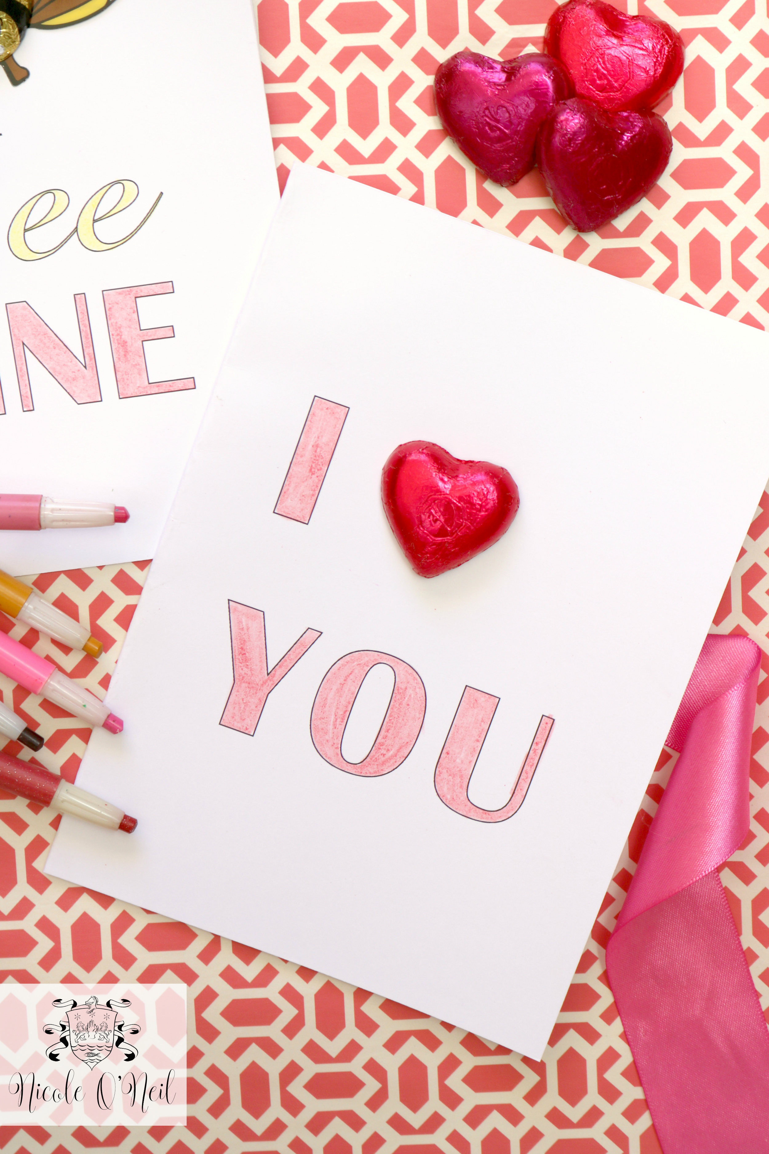 I Love You Foil Wrapped Chocolate Hearts Free Printable Valentines Day Cards and Instructions - Cute Valentines Crafts for Kids