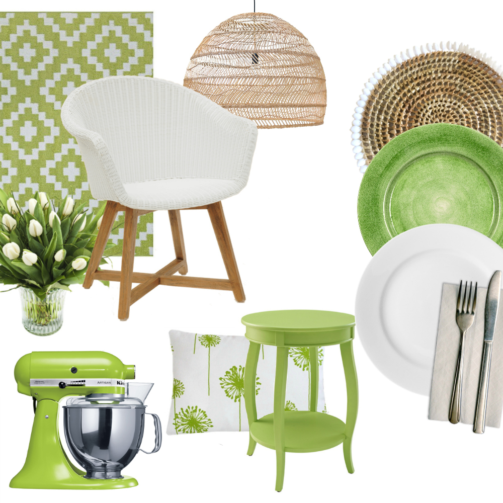 How to Decorate with 2017 Pantone Color of the Year GREENERY - Home Inspiration and Interior Design Tips for Combining Lime Green Tones with White, Neutral and Natural Wood