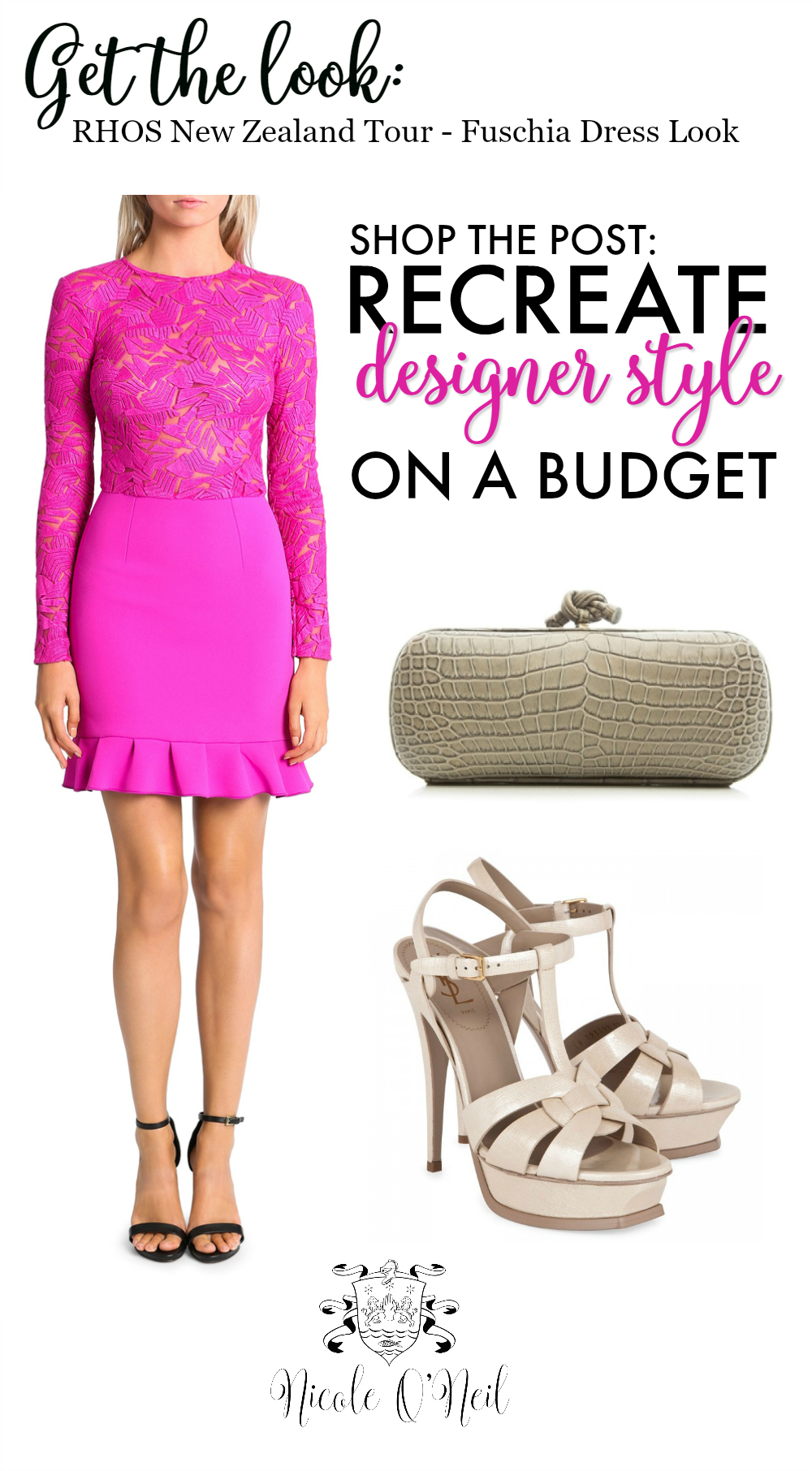 Fuschia Lace Dress Outfit Post - How to Recreate Designer Outfit Looks on a Budget