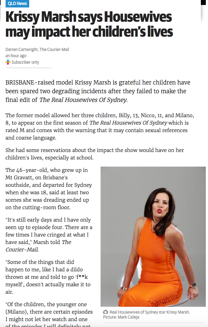 Krissy Marsh says Housewives may impact her children's lives - The Courier Mail 21-02-2017.png