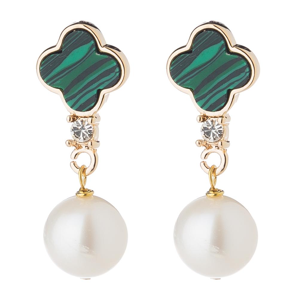 Bowerhaus Lucky Malachite Gold Earrings