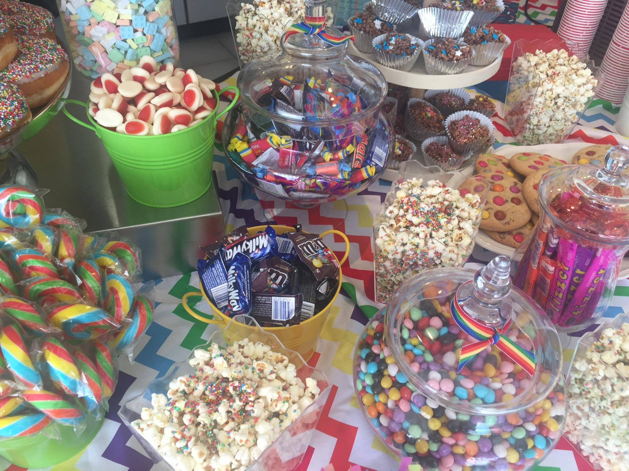 A Rainbow Snack Bar for Neve's Rainbow Unicorn Themed Birthday Party