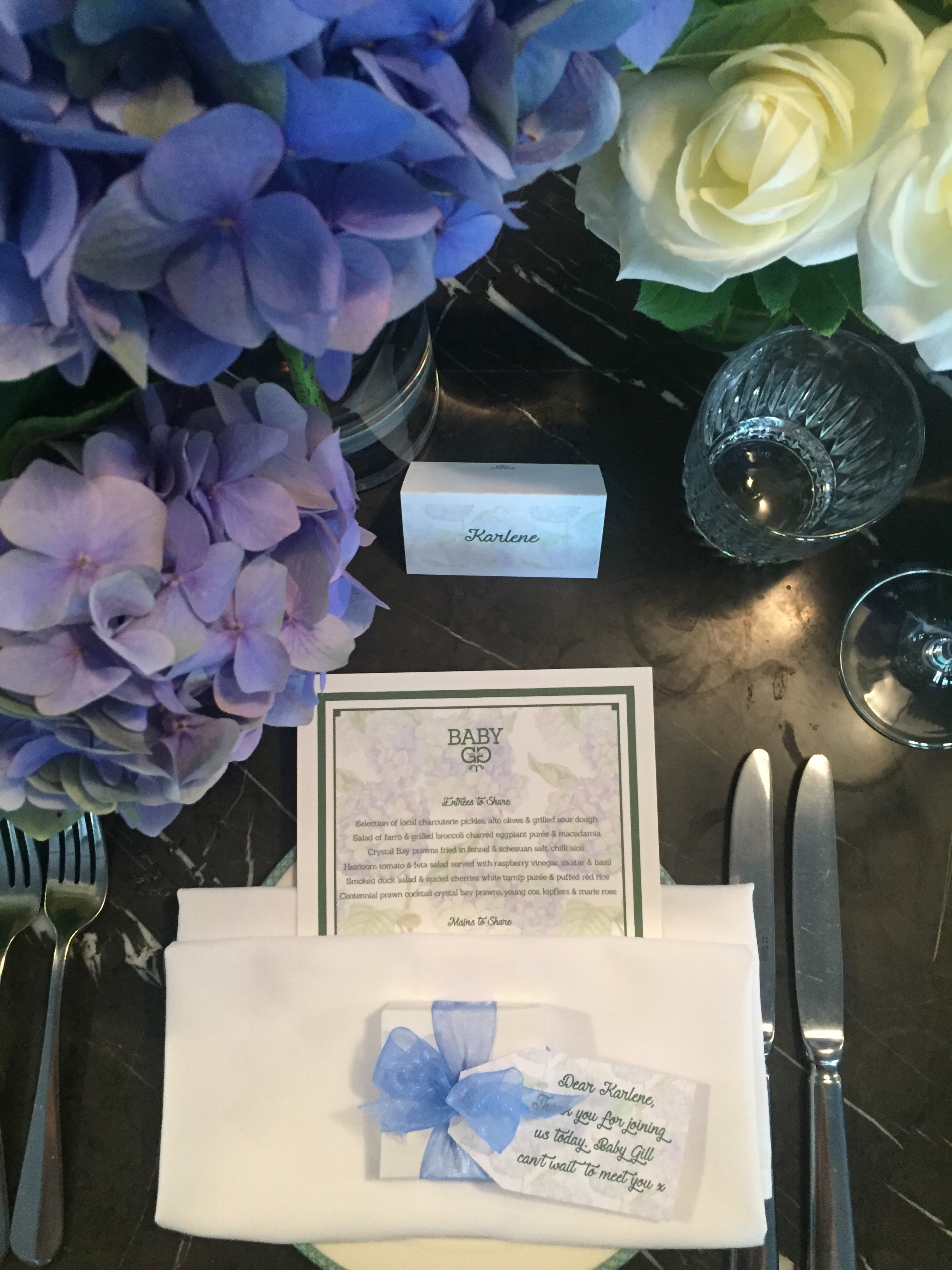 Baby Shower for a Baby Boy - Place setting inspiration - Blue hydrangea themed floral arrangement