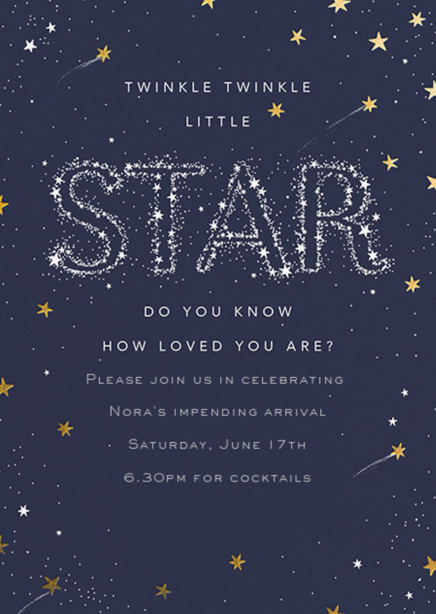 Twinkle Twinkle Little Star Themed Baby Shower Invitation