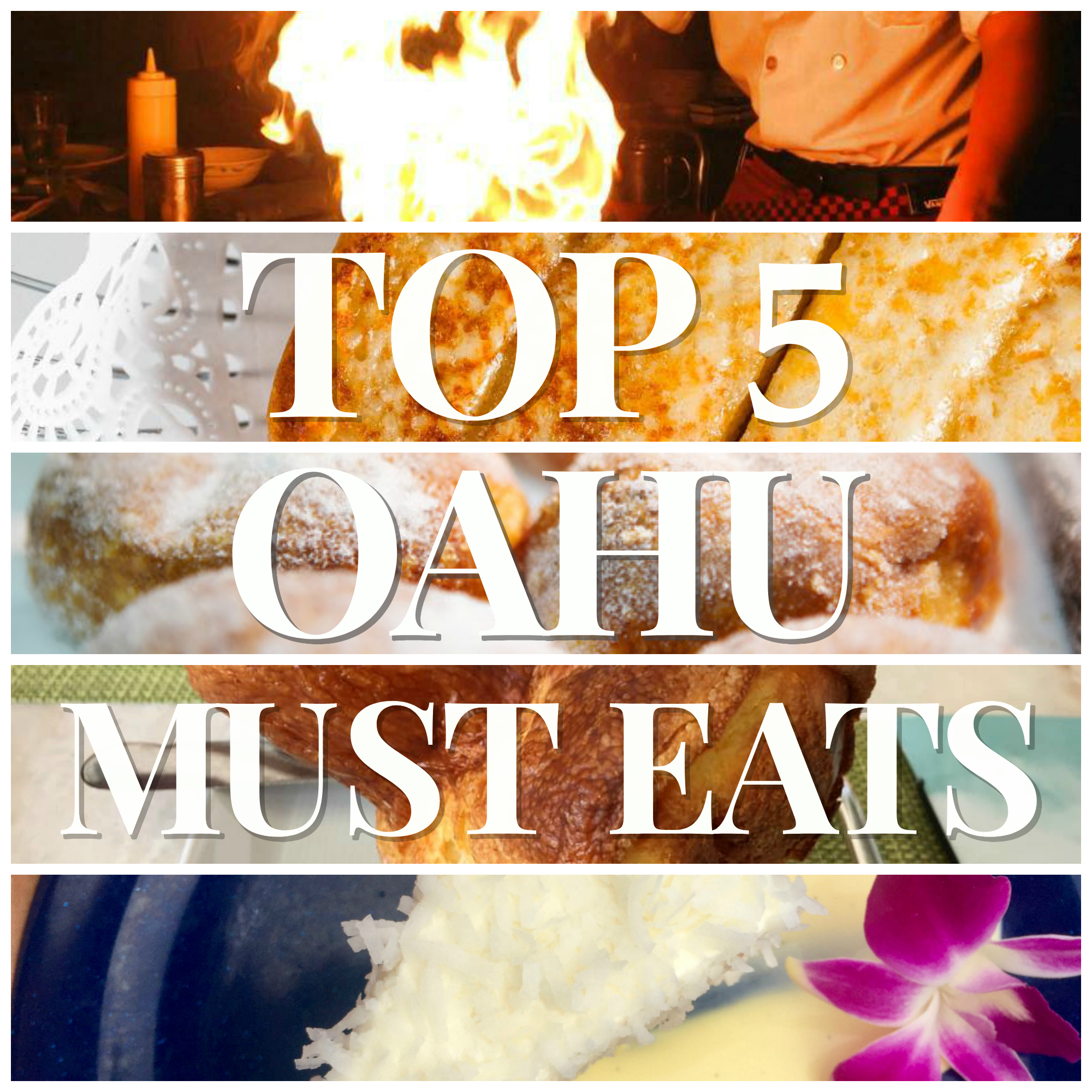 Nicole O'Neil's Top 5 Must Try Foods on the island of Oahu. Find out what the must eat items are in the Aloha State - from HY's incredible cheese toast to popovers with strawberry butter at Mariposa and Masaladas at Leonard's Bakery. Eat your way around the island with this delicious guide!