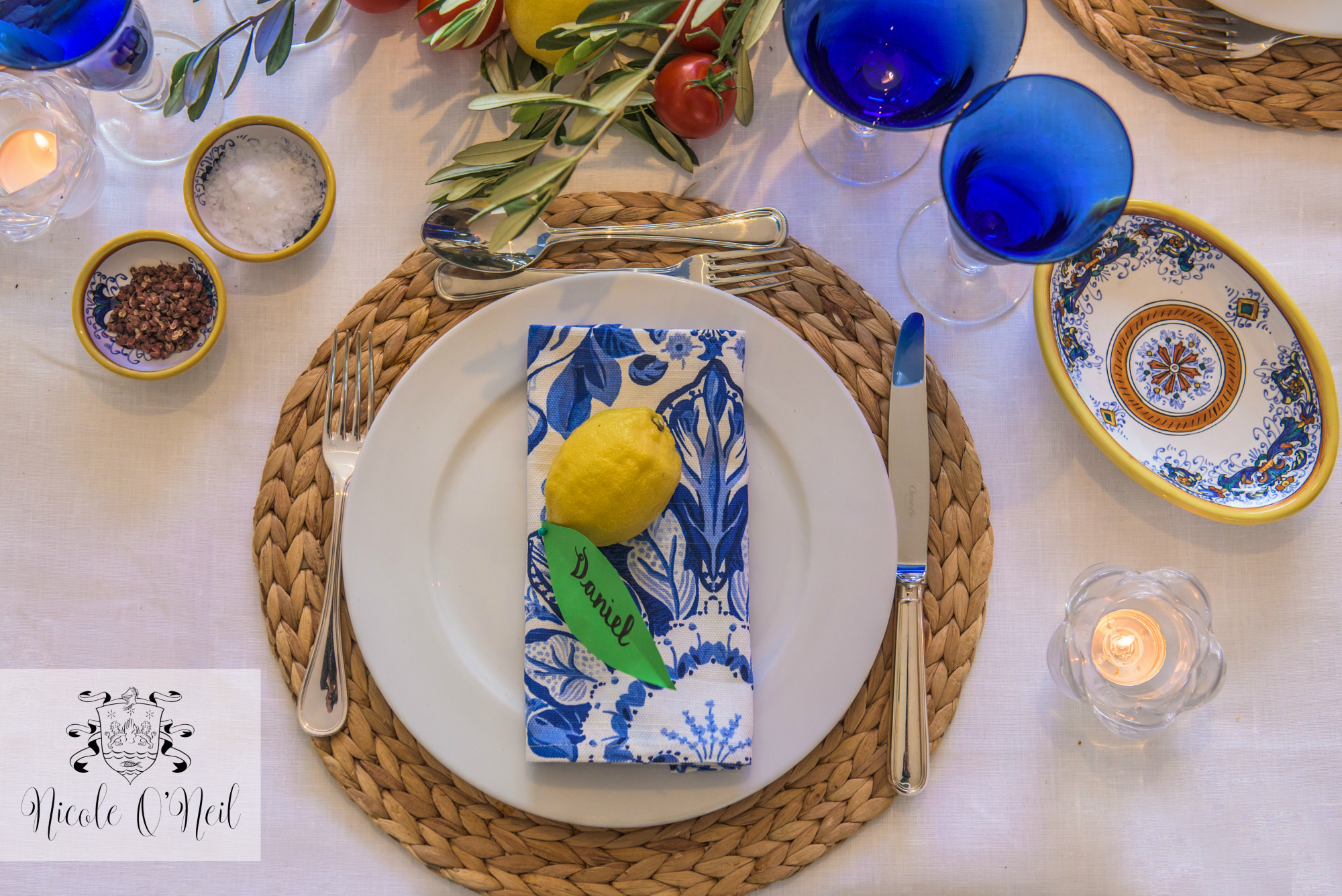 La Dolce Vita Mediterranean Inspired Table Setting for Parties - Lemon, Blue and White Italian Themed Dinner Party Tablescape - Greek Theme Birthday