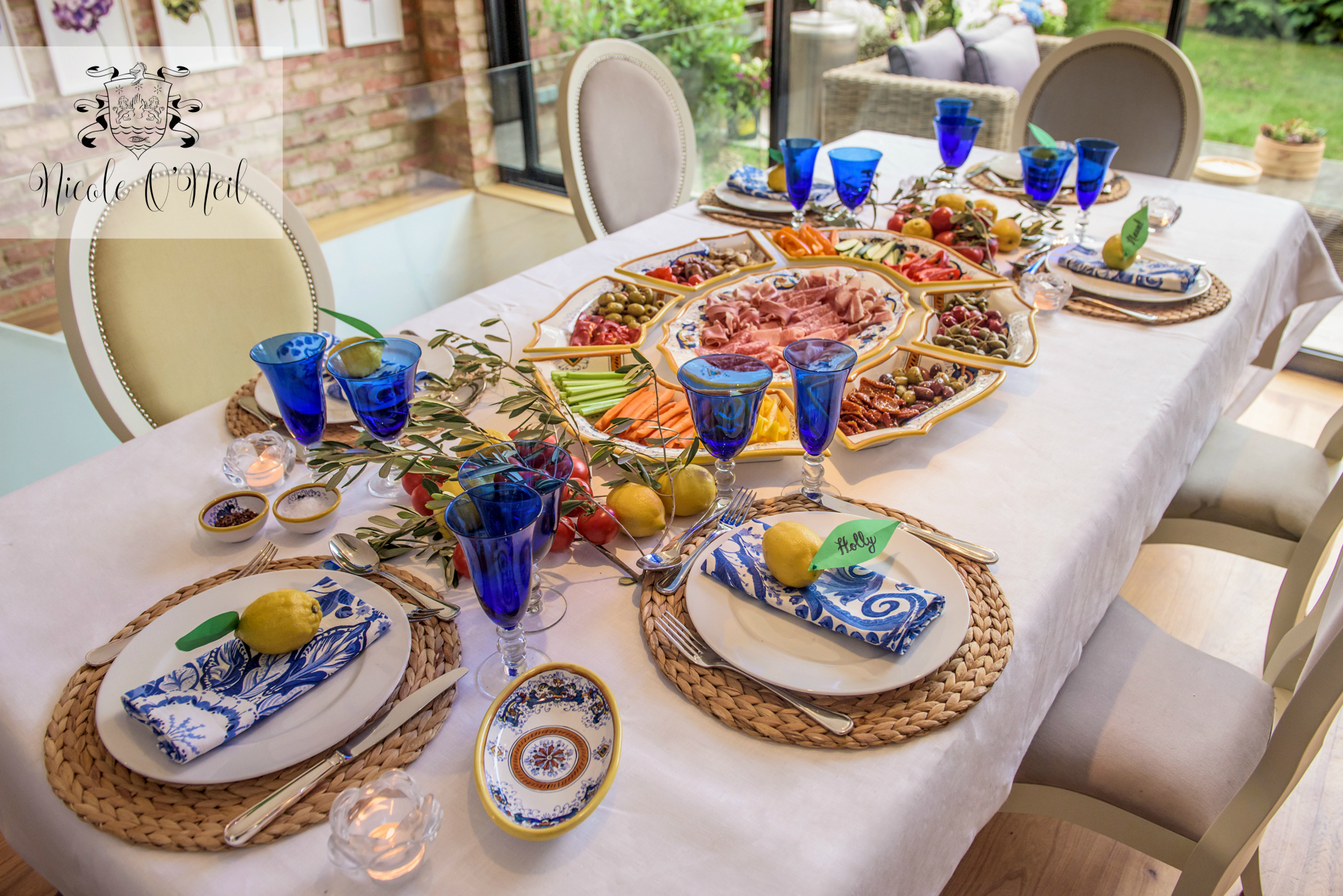 La Dolce Vita Mediterranean Inspired Table Setting for Parties - Lemon, Blue and White Italian Themed Dinner Party Tablescape - Italian or Greek Theme Birthday