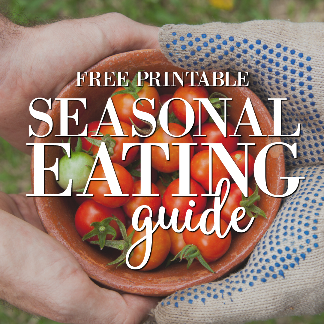 Get my FREE Seasonal Eating Guide Printable to stick on your fridge so you know exactly what produce is in season in Spring, Summer, Autumn and Winter. Shop smarter and save money when you buy fruits and vegetables!