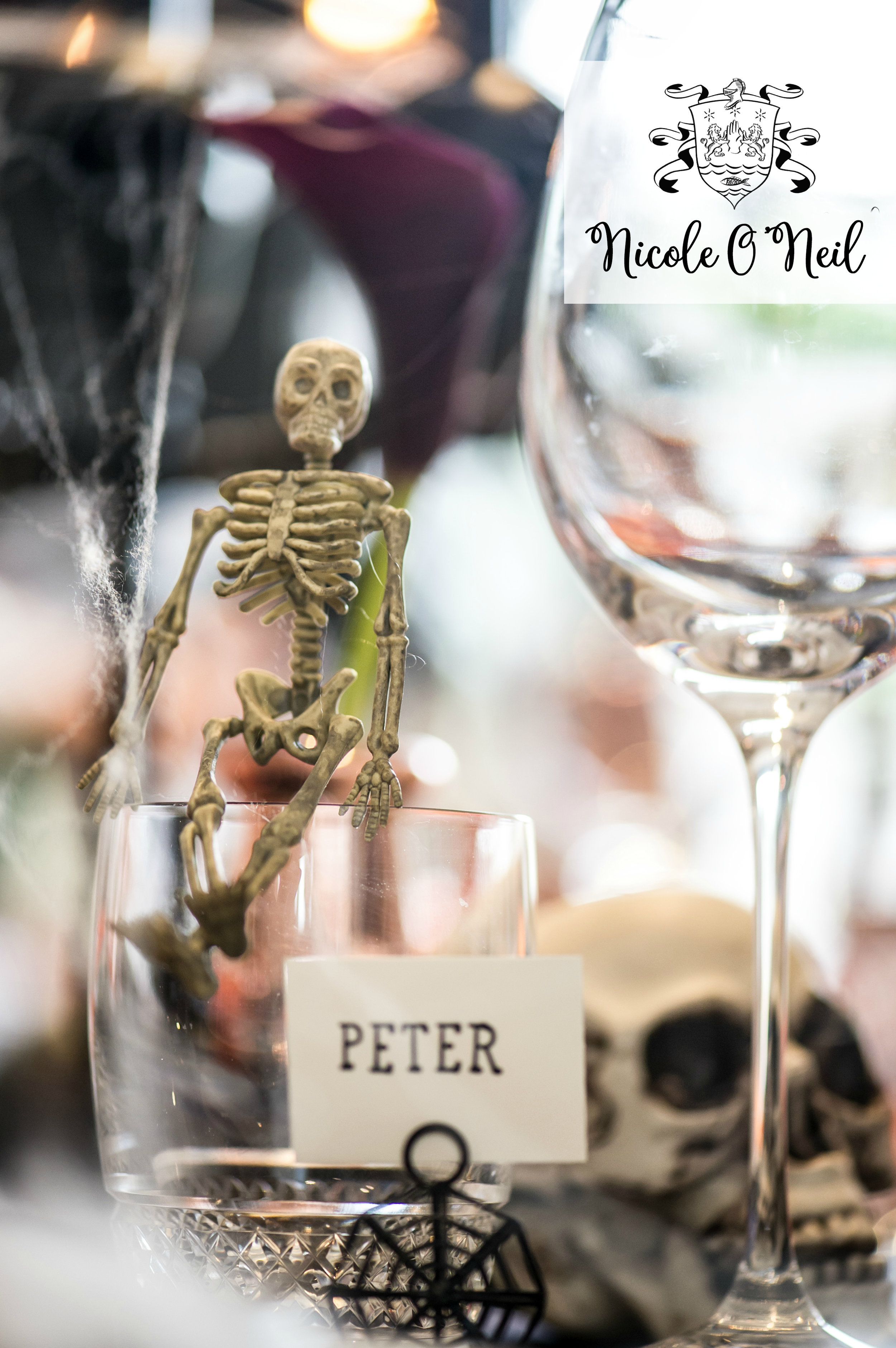 Halloween Party Decoration Ideas and Halloween Table Setting Inspiration - Skeleton Name Tags