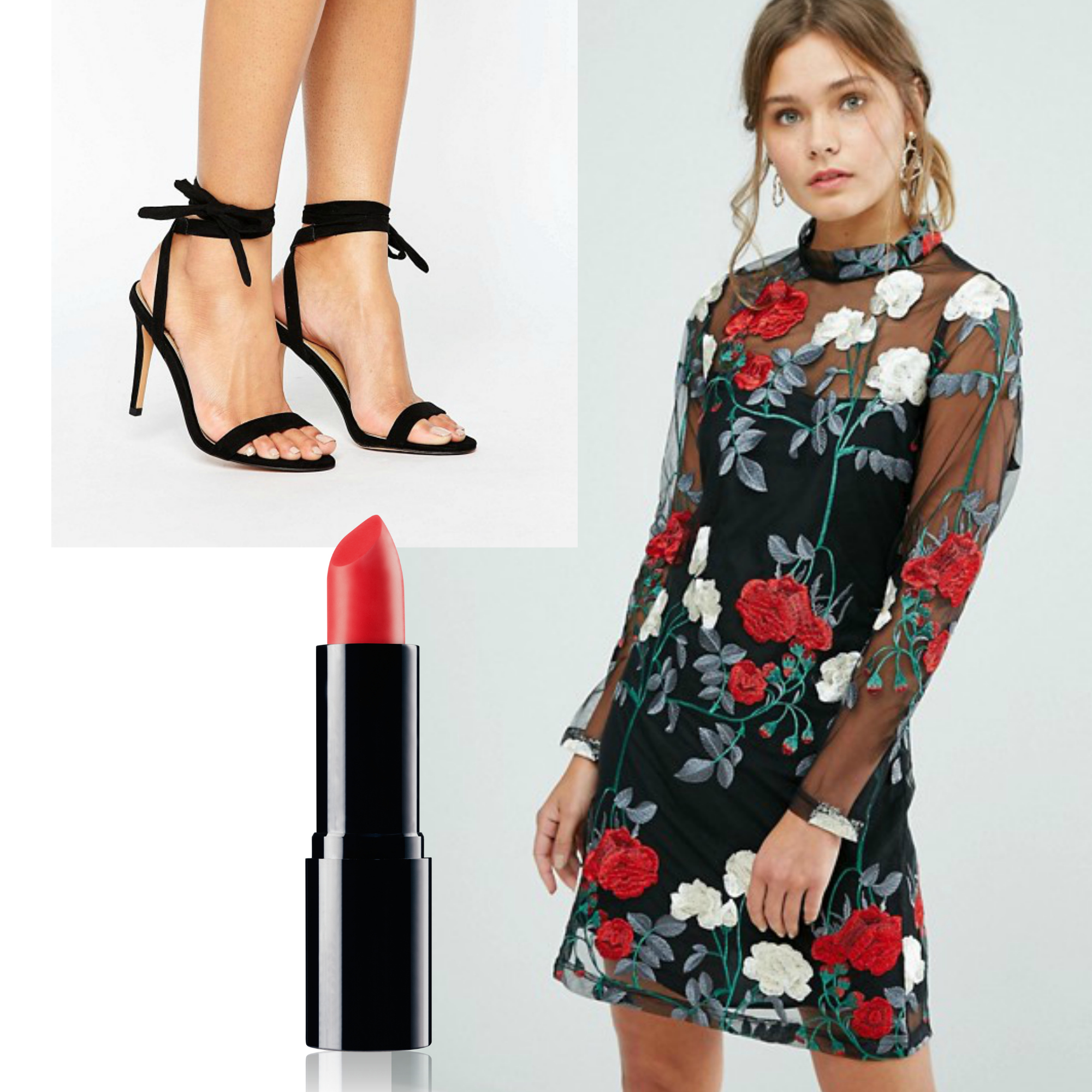 New Years Eve Outfit Idea Under $150  Budget Friendly Party Outfit  Embroidered Little Black Dress with Strappy Heels and Red Lip