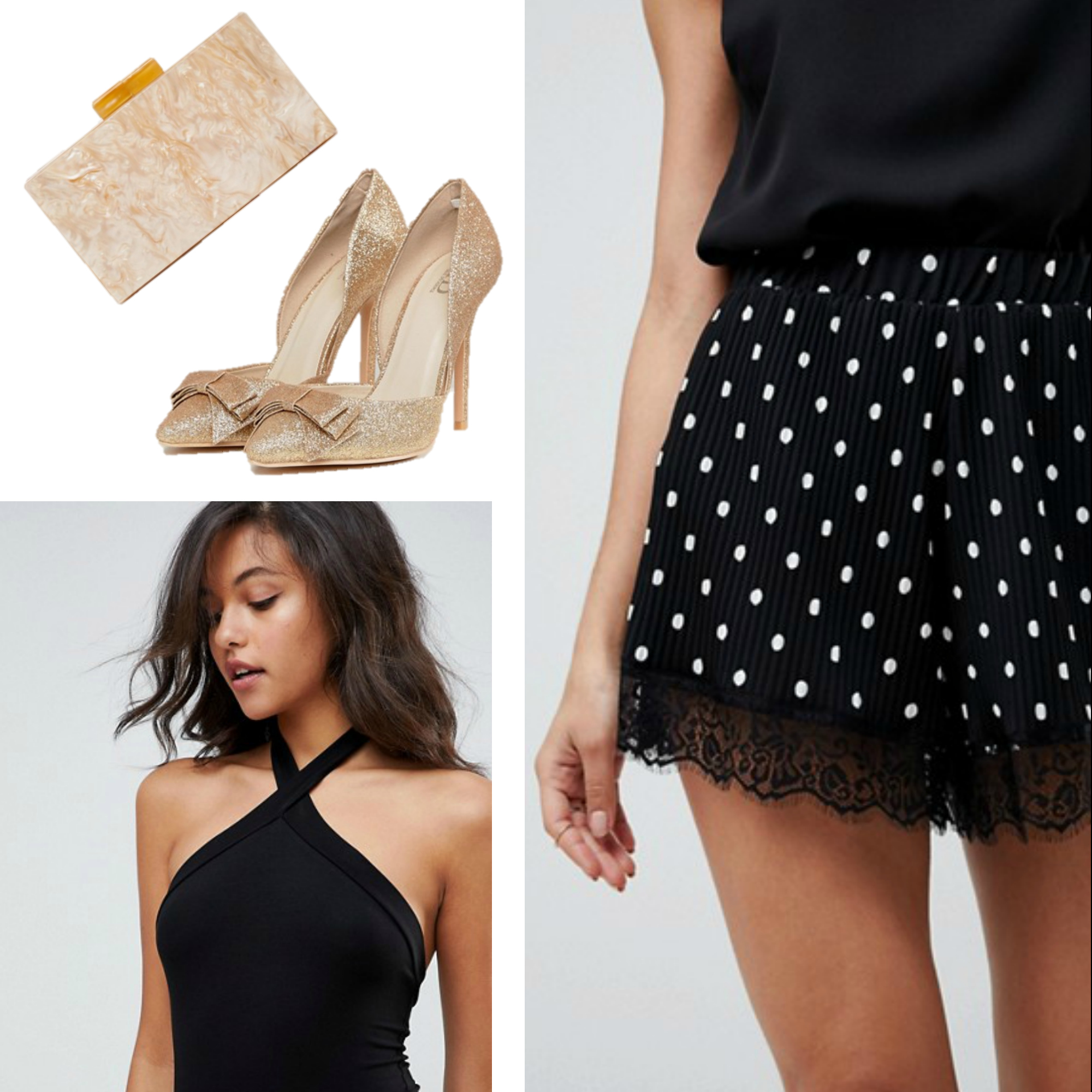 New Years Eve Outfit Idea Under $150  Budget Friendly Party Outfit - Dress Shorts with Halter Neck Top and Metallic Accessories