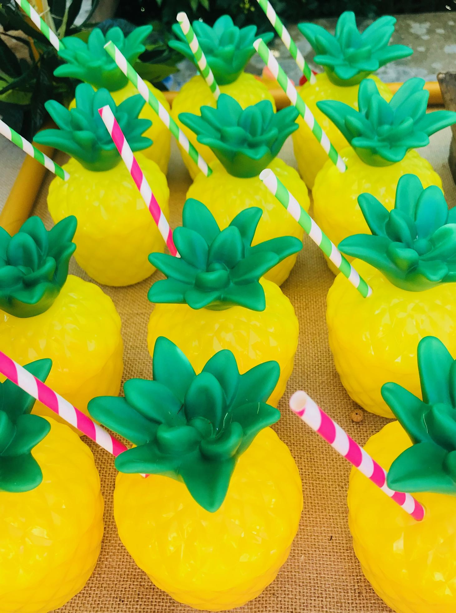Pineapple Drink Cups for Neve's Hawaiian Luau Pool Party