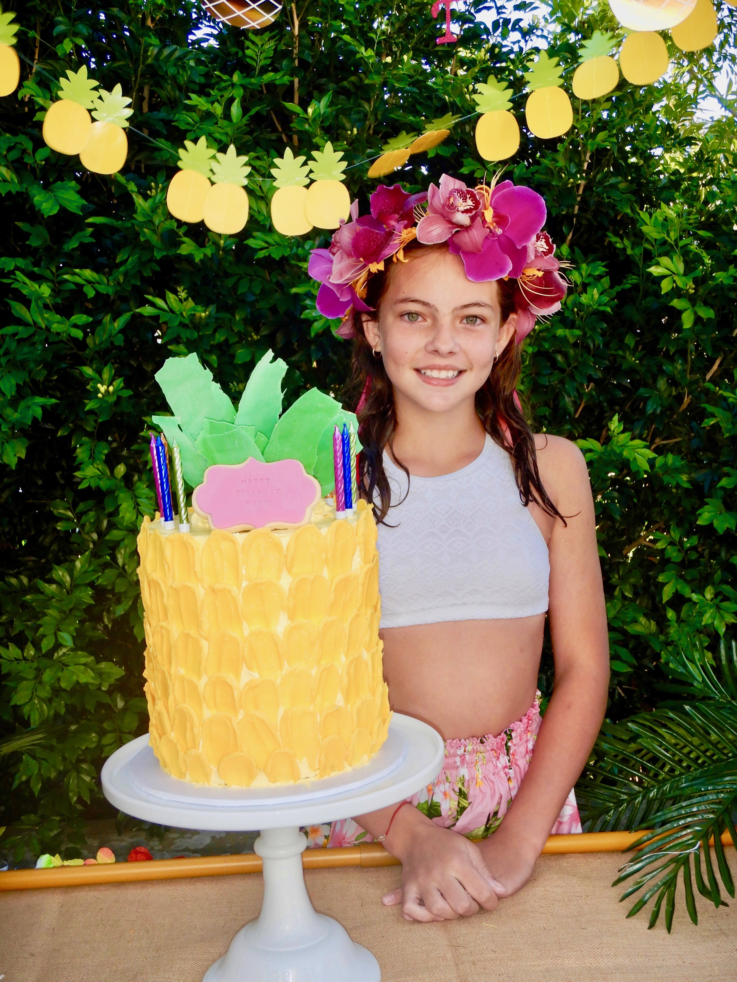 Neve with her Pineapple Cake