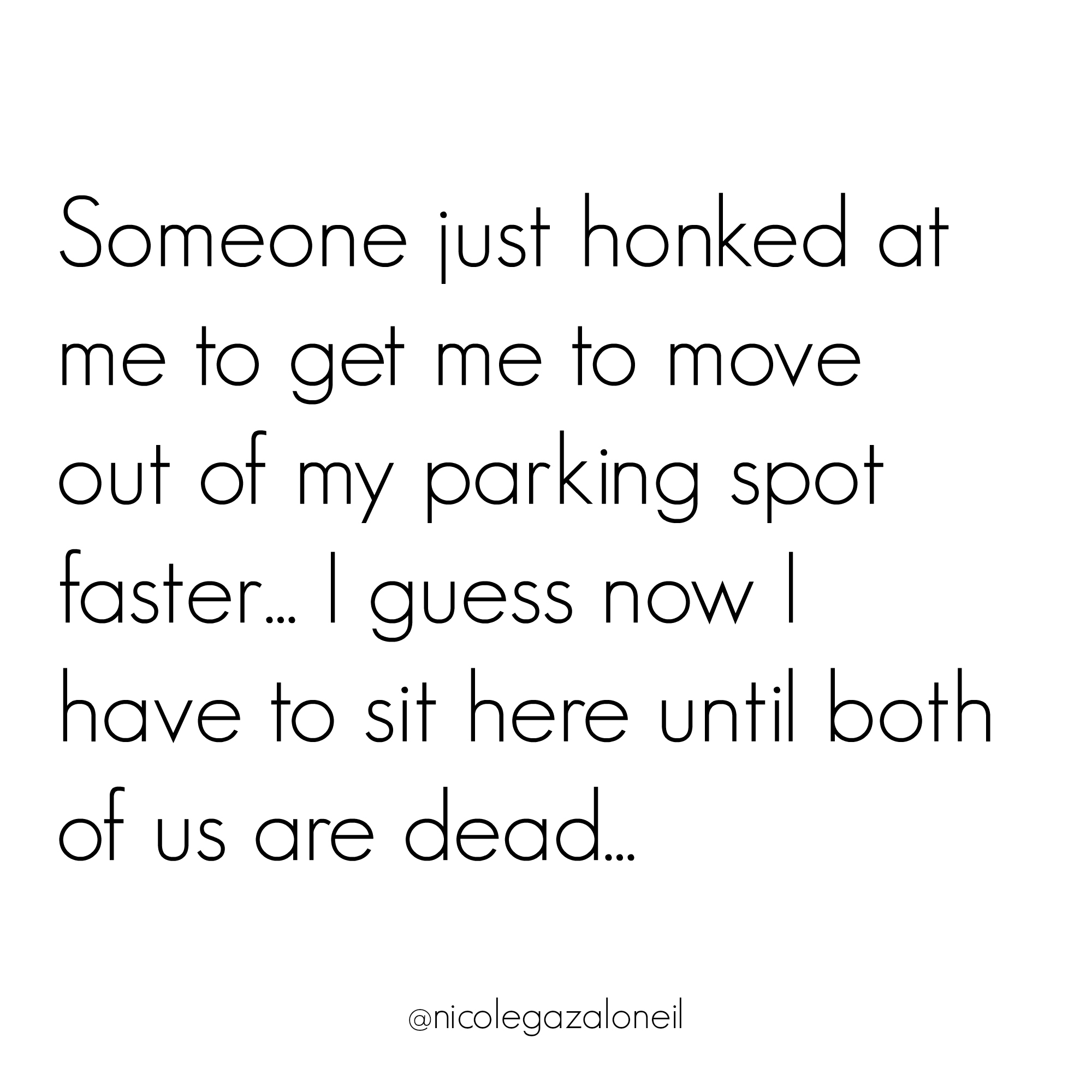 Someone just honked at me to get me to move out of my parking spot faster... I guess now I have to sit here until both of us are dead....