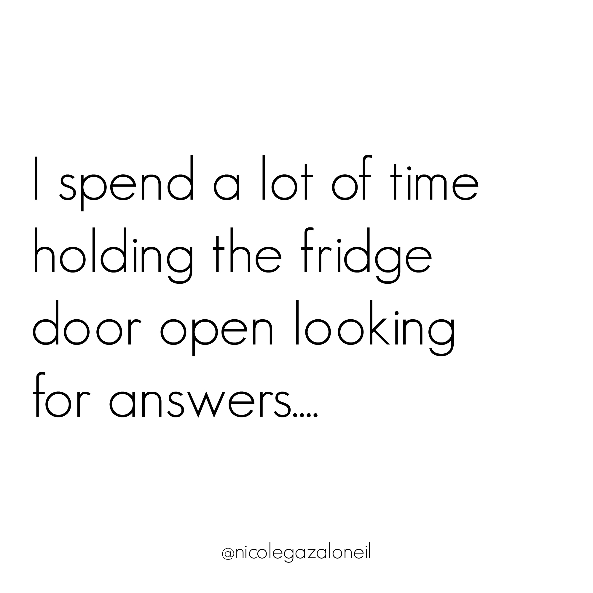 I spend a lot of time holding the fridge door open looking for answers