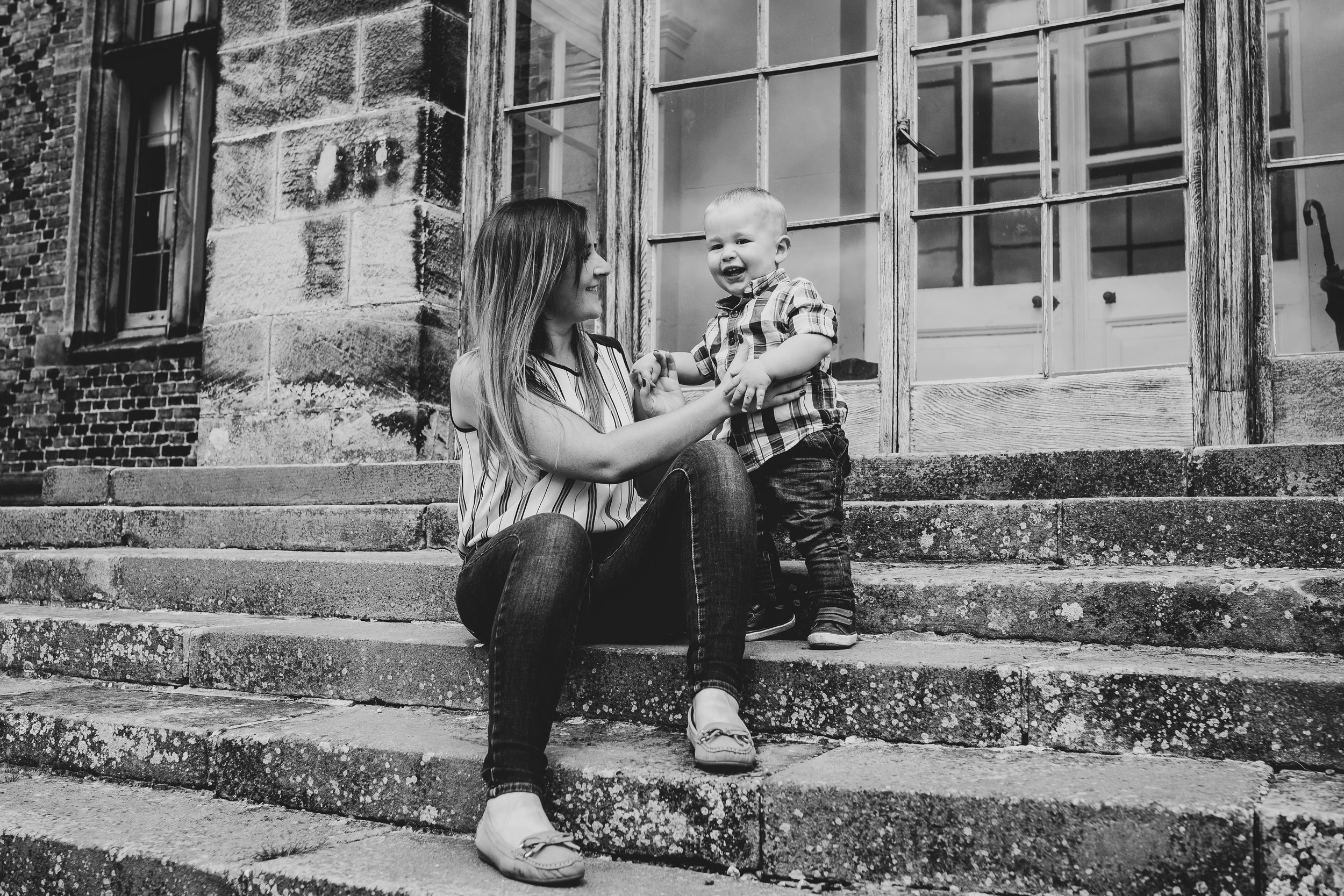 Black and white, mum and son Claire Meldrum Photography