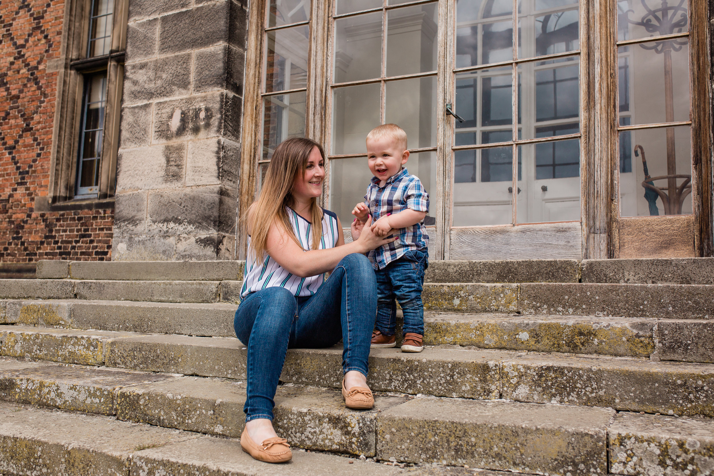Claire Meldrum Photography mum and son on steps