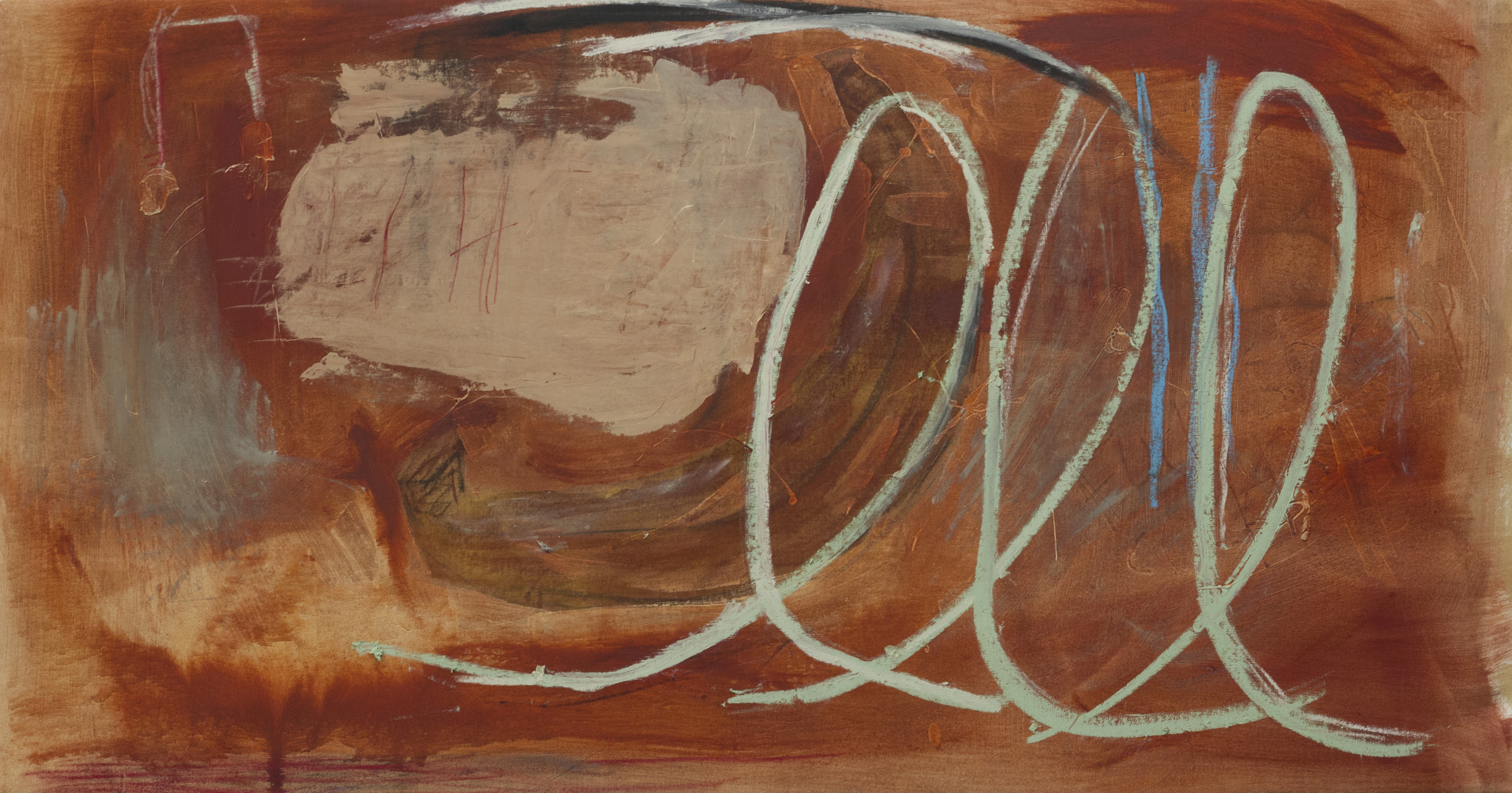 Intonation in Deaf Ears , 2015  30 x 58 Inches  Oil, Charcoal, Pastel, Graphite, and Oil Stick on Canvas