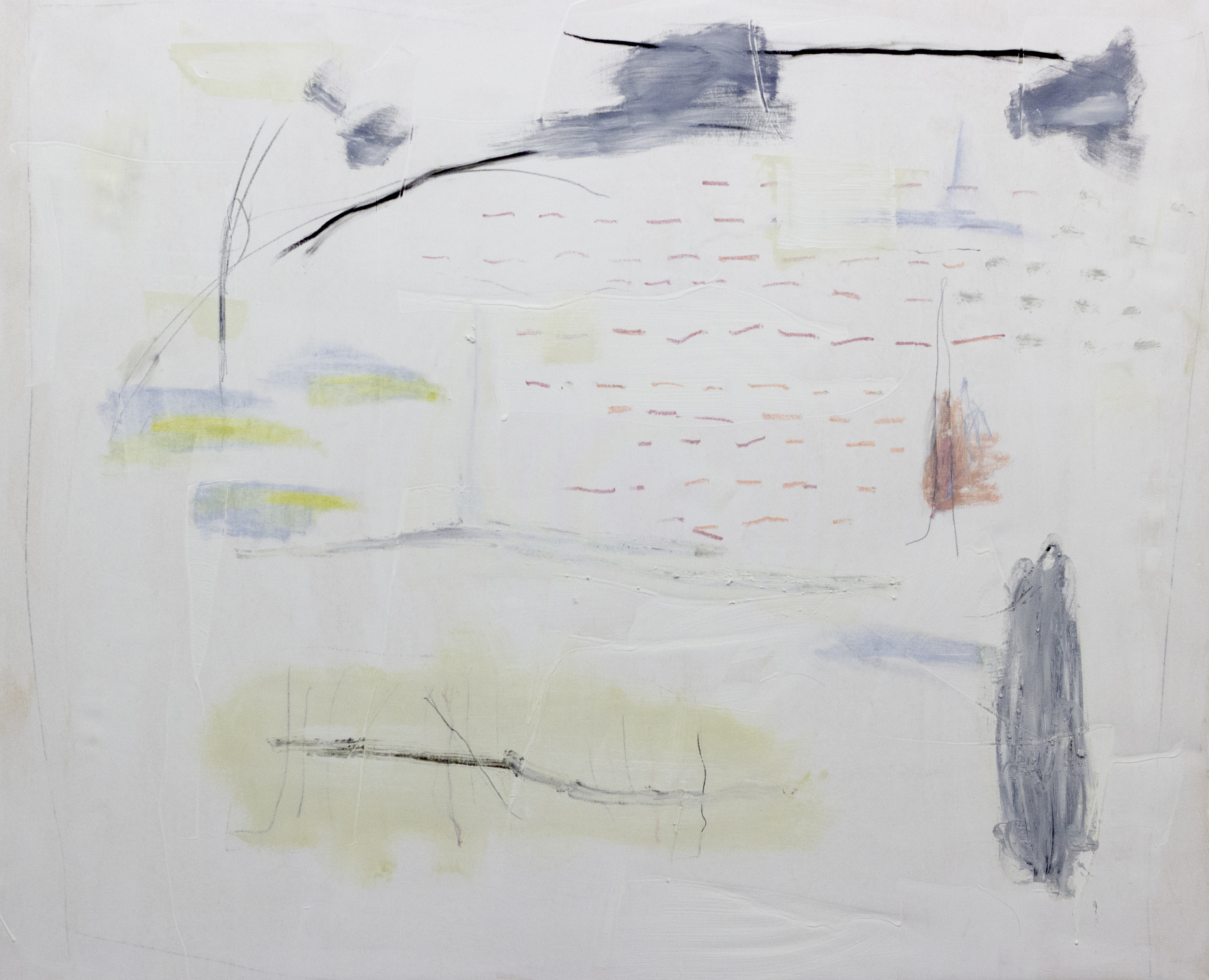 Waltz No. 1 , 2015  46 x 56 Inches  Acrylic, Oil, Graphite, Charcoal, Chalk Pastel, Crayon, and Oil Stick on Canvas