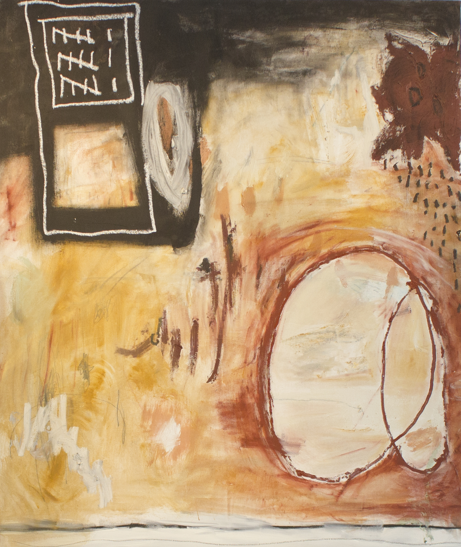 When I Forgot About Everything  , 2016   52 x 44 Inches  Oil, Oil Stick, Acrylic, and Graphite on Canvas