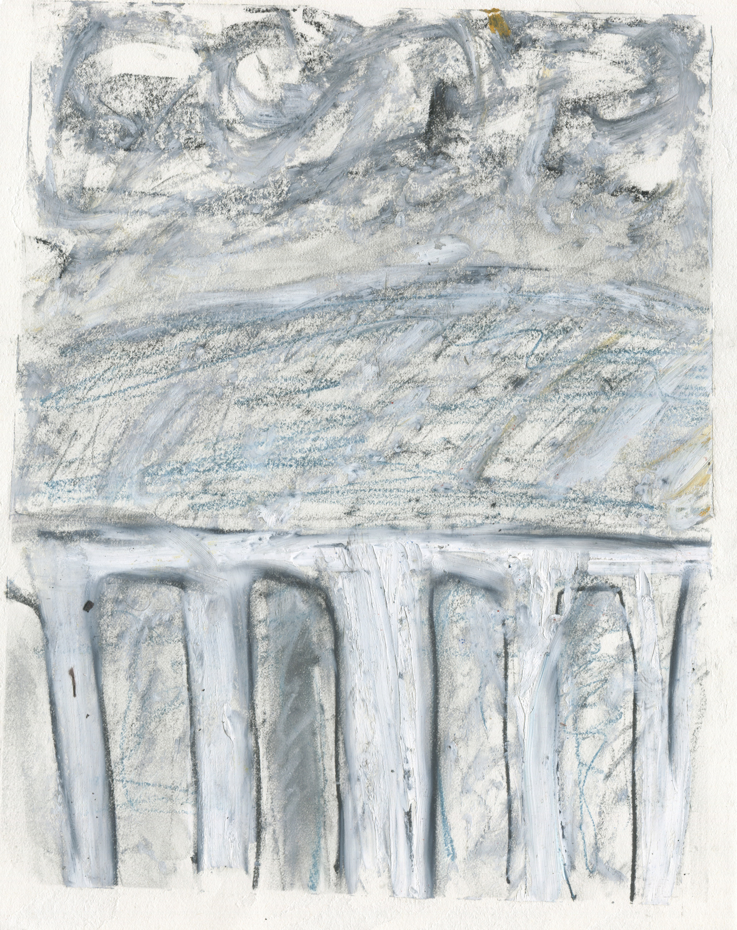 Before Leaving Vacation/Returning to the Fact of the Matter , 2016  14 x 11 inches  Charcoal, Crayon, Chalk Pastel, Graphite and Oil Pastel on Paper