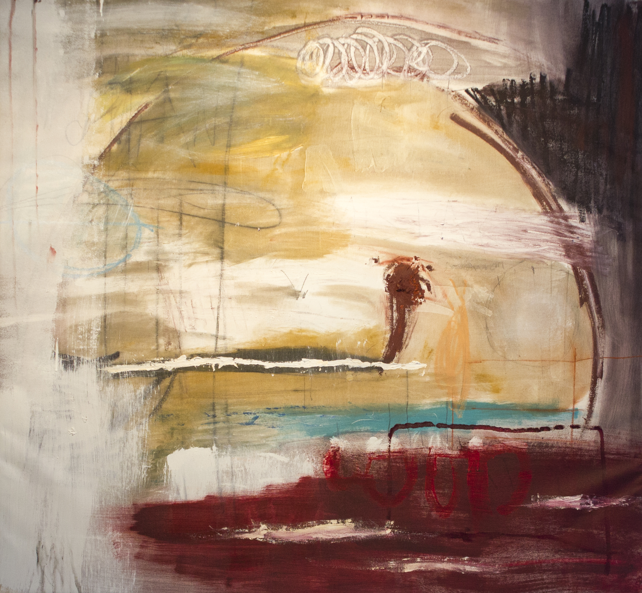 Meursault and Mercutio at Verona   , 2016   50 x 54 Inches  Oil, Oil Stick, Acrylic, Colored Pencil, Charcoal, Pastel and Graphite on Canvas