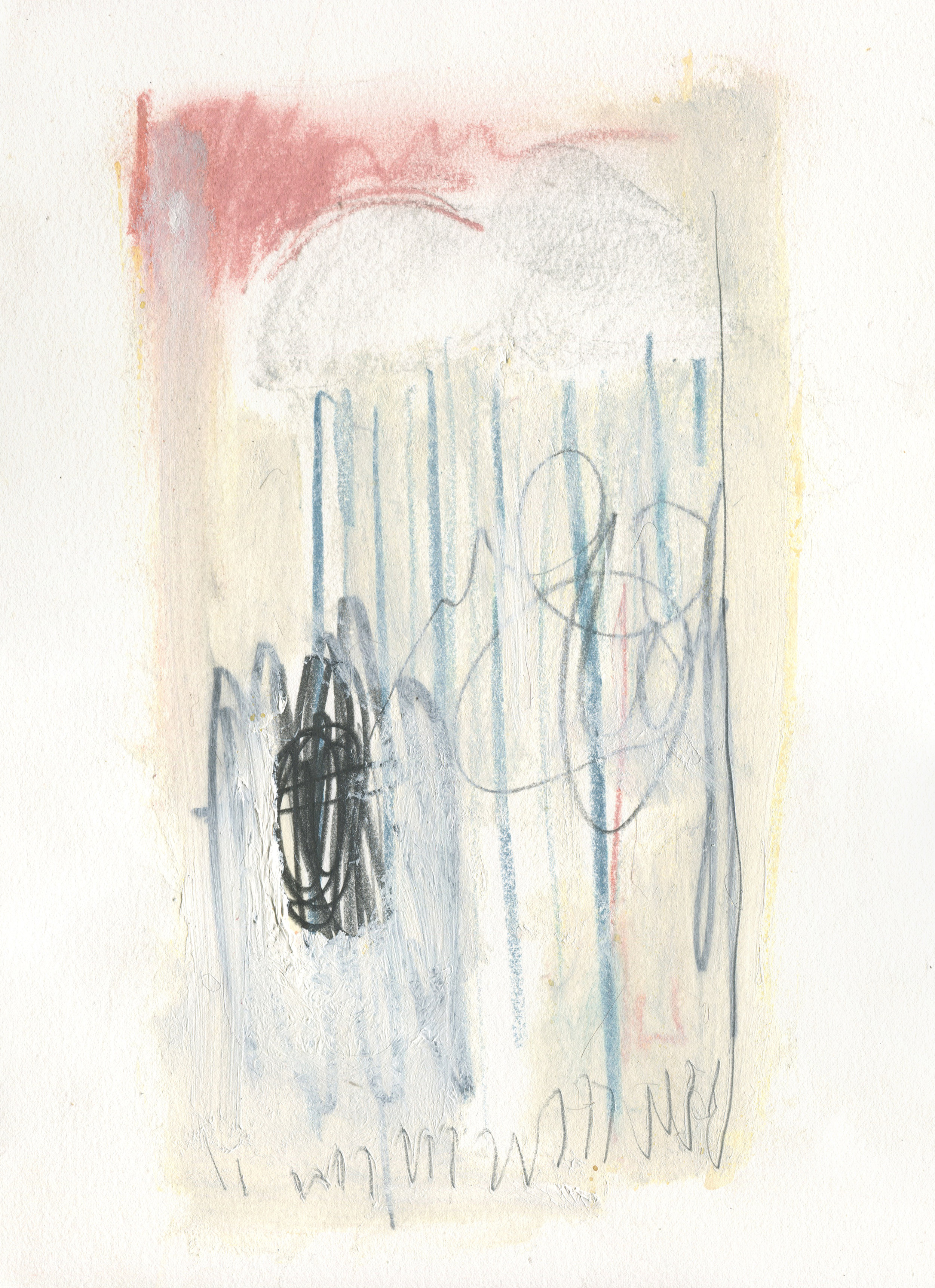Caught in the Rain of a Slow Day, 2016  14 x 10 inches  Lithography Crayon, Chalk Pastel, Graphite, and Acrylic on Paper