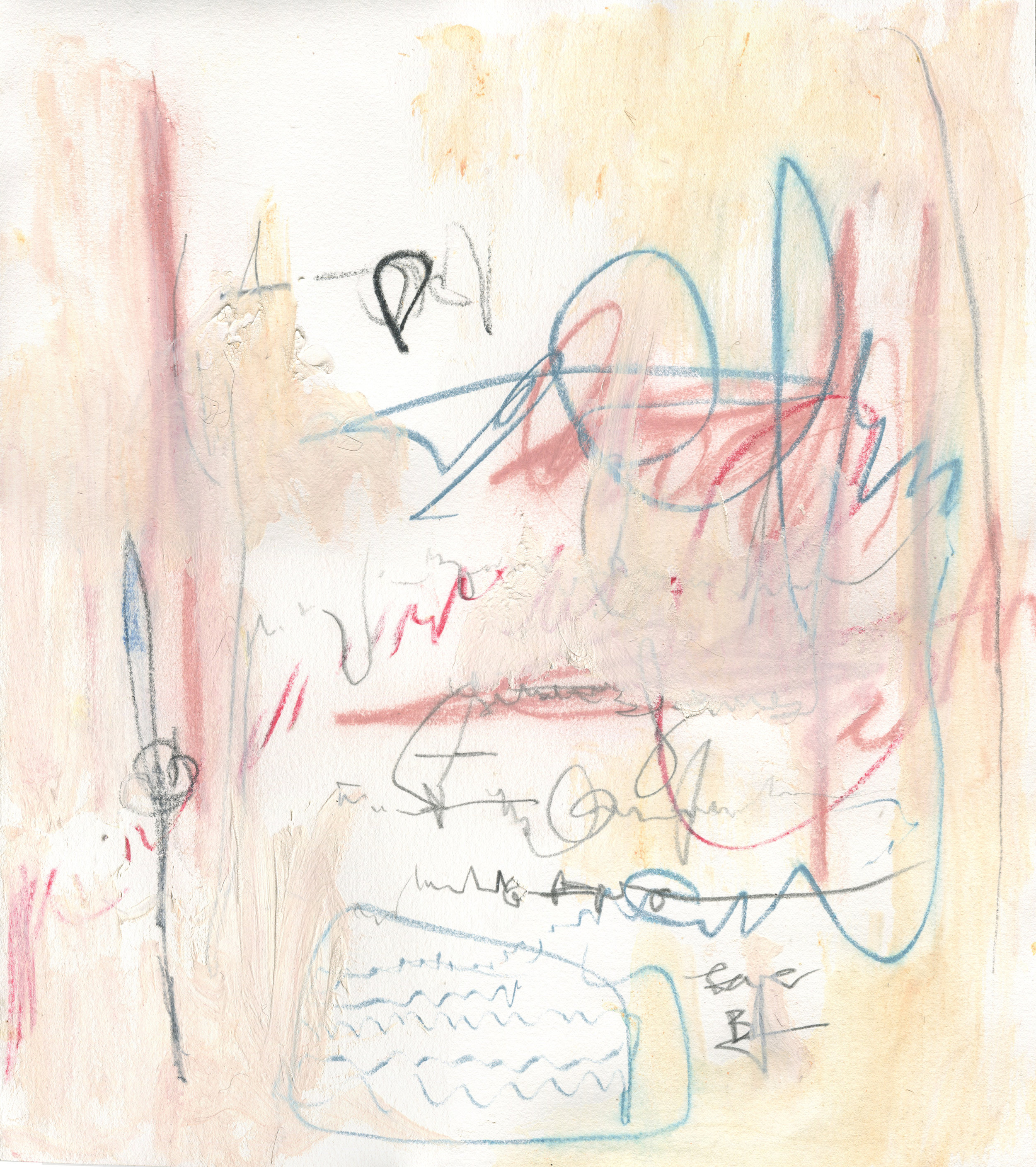 Letters of Wonders and Riches, 2016  15 x 13.5 inches  Graphite, Crayon, Lithography Crayon, and Acrylic on Paper